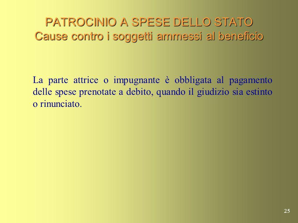 24 PATROCINIO A SPESE DELLO STATO Esame dei casi Causa definita per transazione Cause contro i soggetti ammessi al beneficio Cancellazione causa ( ex art.