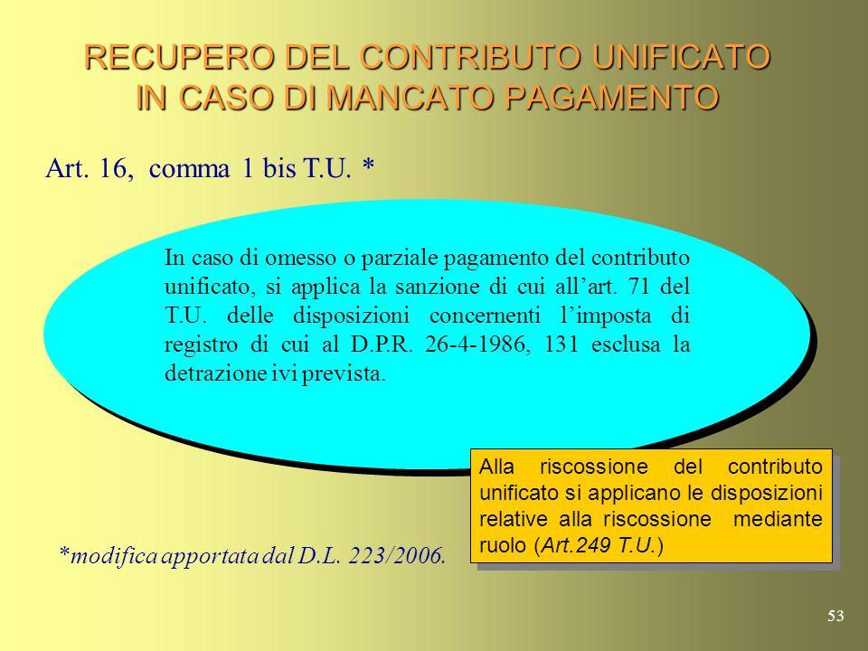 52 RECUPERO DEL CONTRIBUTO UNIFICATO IN CASO DI MANCATO PAGAMENTO Art. 248 T.U. Art. 247 T.U. In caso di omesso o insufficiente pagamento del contribu