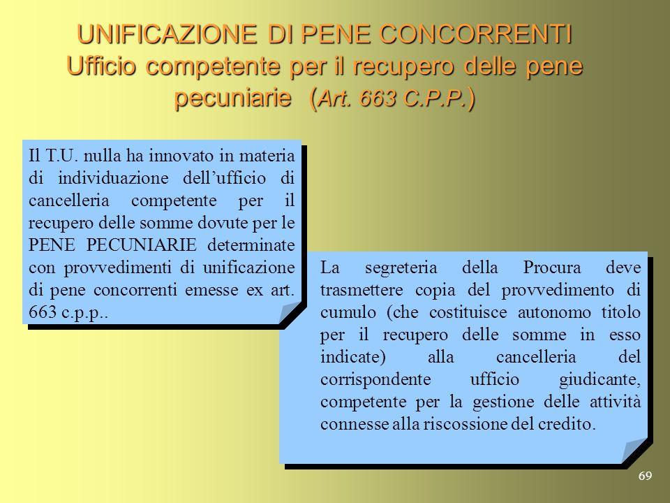 68 UNIFICAZIONE DI PENE CONCORRENTI Ufficio competente per il recupero delle pene pecuniarie (Art. 663 C.P.P.) P.M. o P.G. Ufficio Recupero Crediti de