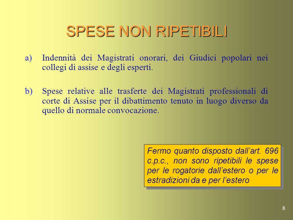 8 SPESE NON RIPETIBILI a)Indennità dei Magistrati onorari, dei Giudici popolari nei collegi di assise e degli esperti.