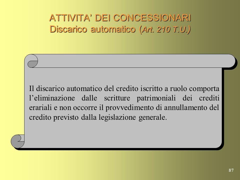 86 ATTIVITA DEI CONCESSIONARI Obblighi per pene pecuniarie ( Artt. 237 e 238 T.U. ) Il Concessionario deve comunicare allUfficio Giudiziario che ha em