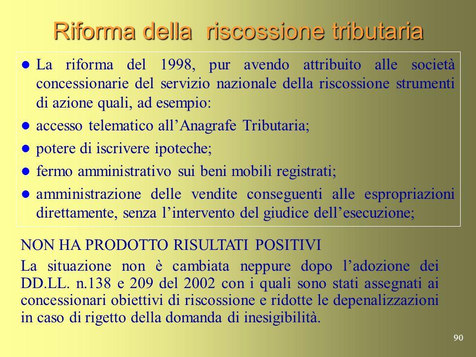 89 Riforma della riscossione tributaria La situazione non è cambiata dopo i DD.LL. n.138 e 209 del 2002 La capacità di riscossione da parte dei conces