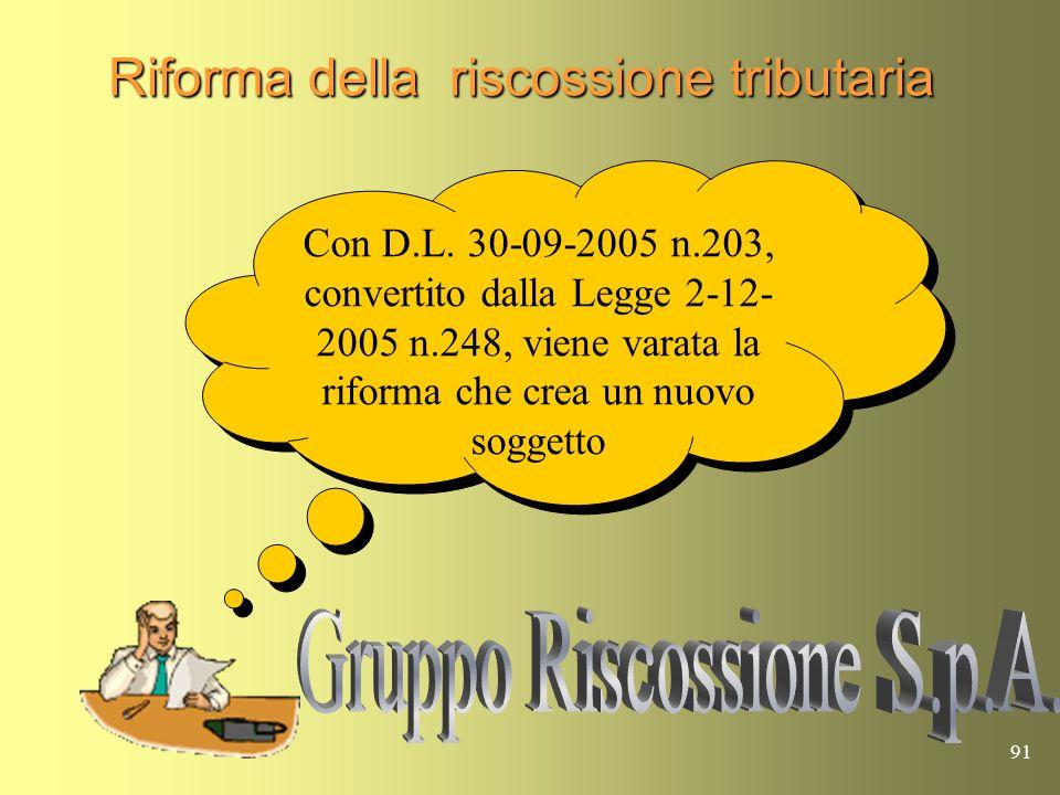 90 Riforma della riscossione tributaria La riforma del 1998, pur avendo attribuito alle società concessionarie del servizio nazionale della riscossion