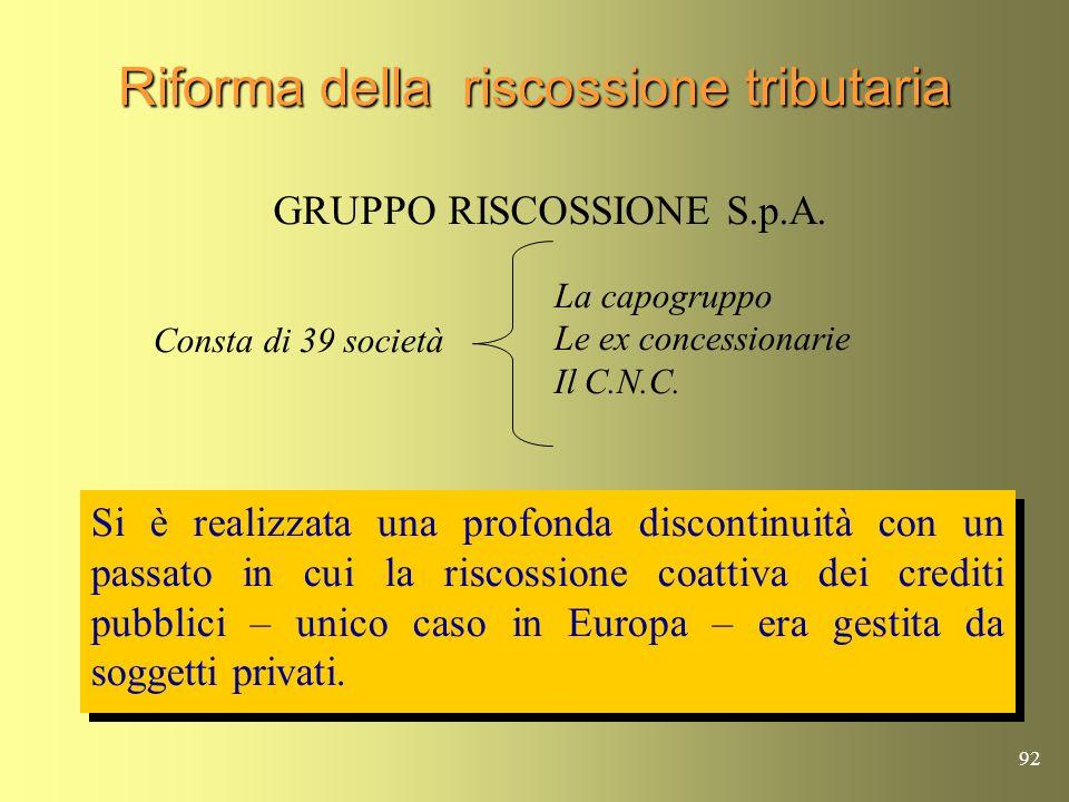 91 Riforma della riscossione tributaria Con D.L. 30-09-2005 n.203, convertito dalla Legge 2-12- 2005 n.248, viene varata la riforma che crea un nuovo