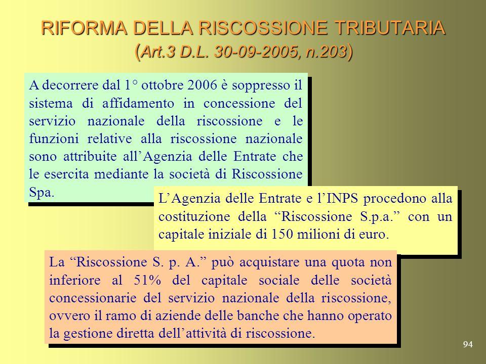 93 RISCOSSIONE S.p.A. E UNA SOCIETA INTERAMENTE PARTECIPATA DALLAGENZIA DELLE ENTRATE E DALLINPS, NELLA QUALE LA MAGGIORANZA DEL CAPITALE (51%) DOVRA,