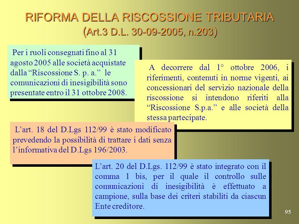 94 RIFORMA DELLA RISCOSSIONE TRIBUTARIA ( Art.3 D.L. 30-09-2005, n.203 ) A decorrere dal 1° ottobre 2006 è soppresso il sistema di affidamento in conc