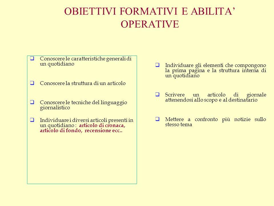 OBIETTIVI FORMATIVI E ABILITA OPERATIVE Conoscere le caratteristiche generali di un quotidiano Conoscere la struttura di un articolo Conoscere le tecn