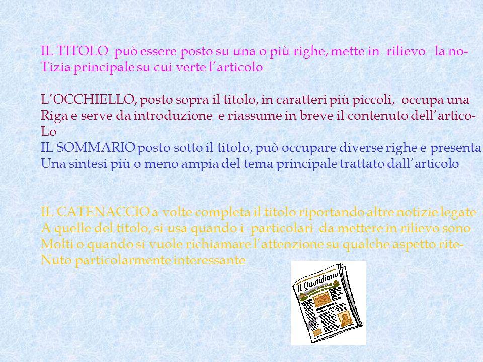 IL TITOLO può essere posto su una o più righe, mette in rilievo la no- Tizia principale su cui verte larticolo LOCCHIELLO, posto sopra il titolo, in c