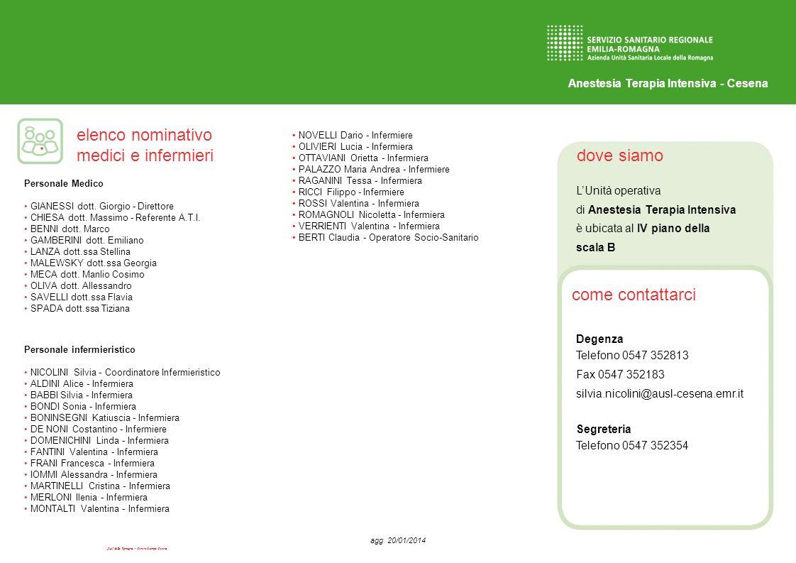 Ausl della Romagna - Centro Stampa Cesena dove siamo elenco nominativo medici e infermieri come contattarci Anestesia Terapia Intensiva - Cesena agg.