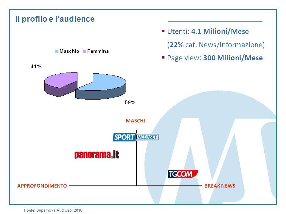 Il profilo e l audience Utenti: 4.1 Milioni/Mese (22% cat.