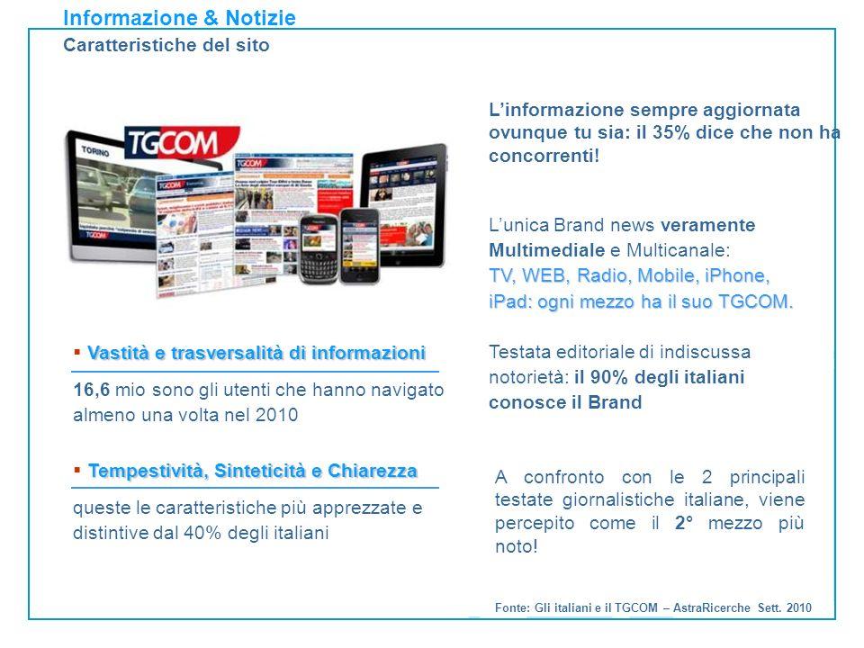 Informazione & Notizie Caratteristiche del sito Fonte: Gli italiani e il TGCOM – AstraRicerche Sett.