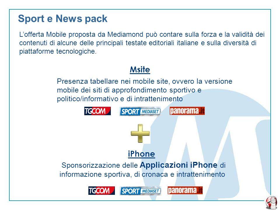 Sport e News pack Lofferta Mobile proposta da Mediamond può contare sulla forza e la validità dei contenuti di alcune delle principali testate editoriali italiane e sulla diversità di piattaforme tecnologiche.