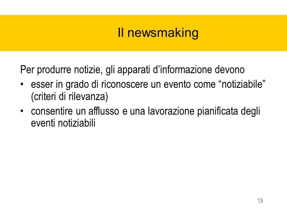 13 Il newsmaking Per produrre notizie, gli apparati dinformazione devono esser in grado di riconoscere un evento come notiziabile (criteri di rilevanza) consentire un afflusso e una lavorazione pianificata degli eventi notiziabili