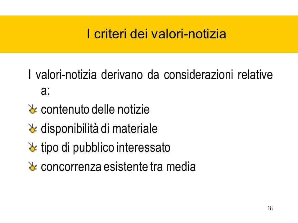 18 I criteri dei valori-notizia I valori-notizia derivano da considerazioni relative a: contenuto delle notizie disponibilità di materiale tipo di pubblico interessato concorrenza esistente tra media