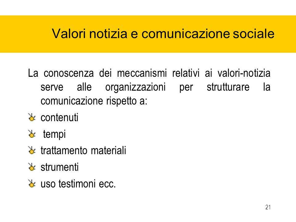 21 Valori notizia e comunicazione sociale La conoscenza dei meccanismi relativi ai valori-notizia serve alle organizzazioni per strutturare la comunicazione rispetto a: contenuti tempi trattamento materiali strumenti uso testimoni ecc.