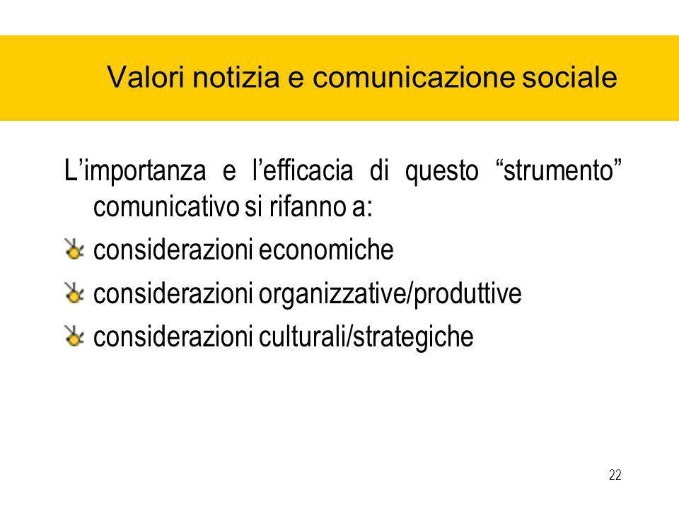 22 Valori notizia e comunicazione sociale Limportanza e lefficacia di questo strumento comunicativo si rifanno a: considerazioni economiche considerazioni organizzative/produttive considerazioni culturali/strategiche
