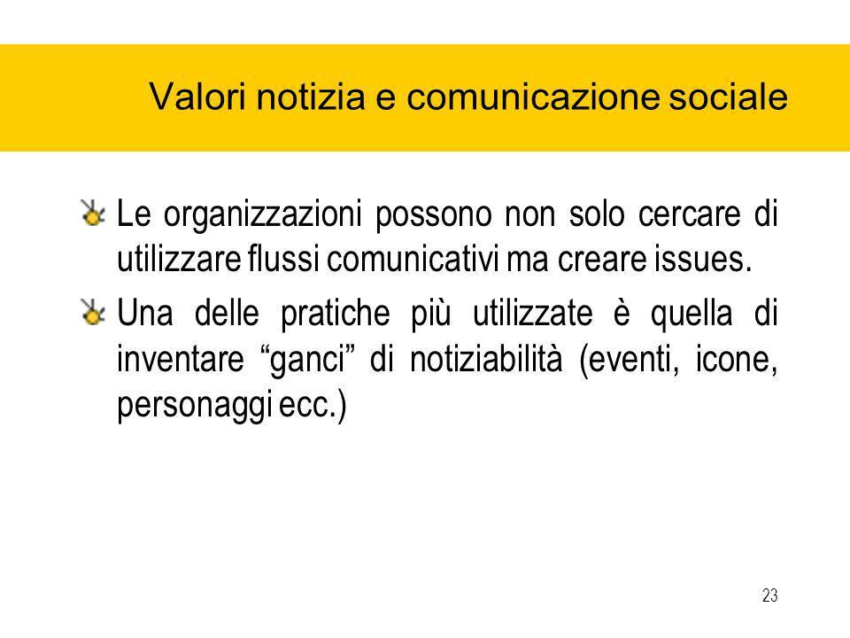 23 Valori notizia e comunicazione sociale Le organizzazioni possono non solo cercare di utilizzare flussi comunicativi ma creare issues.
