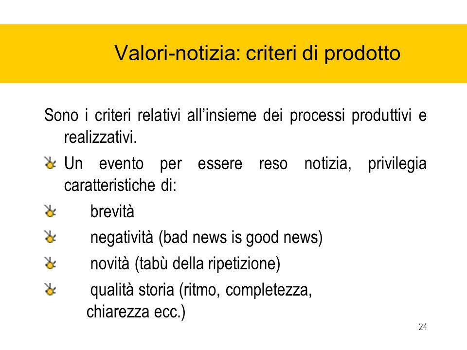 24 Valori-notizia: criteri di prodotto Sono i criteri relativi allinsieme dei processi produttivi e realizzativi.