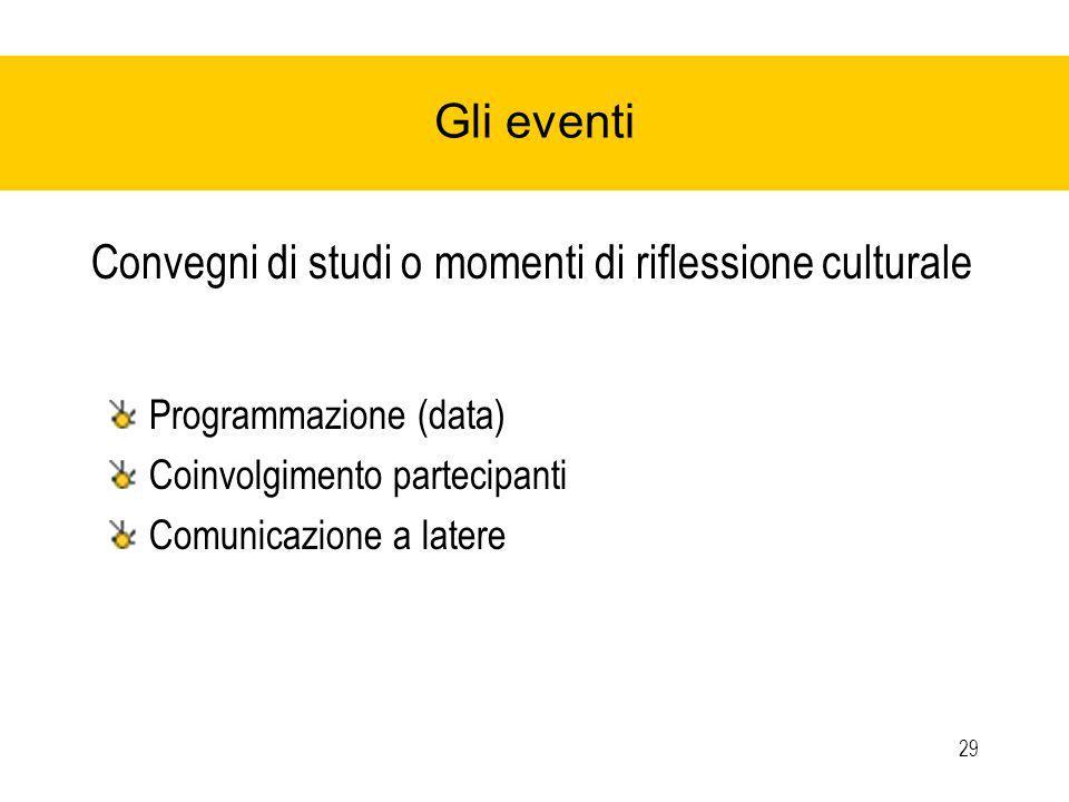 29 Gli eventi Convegni di studi o momenti di riflessione culturale Programmazione (data) Coinvolgimento partecipanti Comunicazione a latere