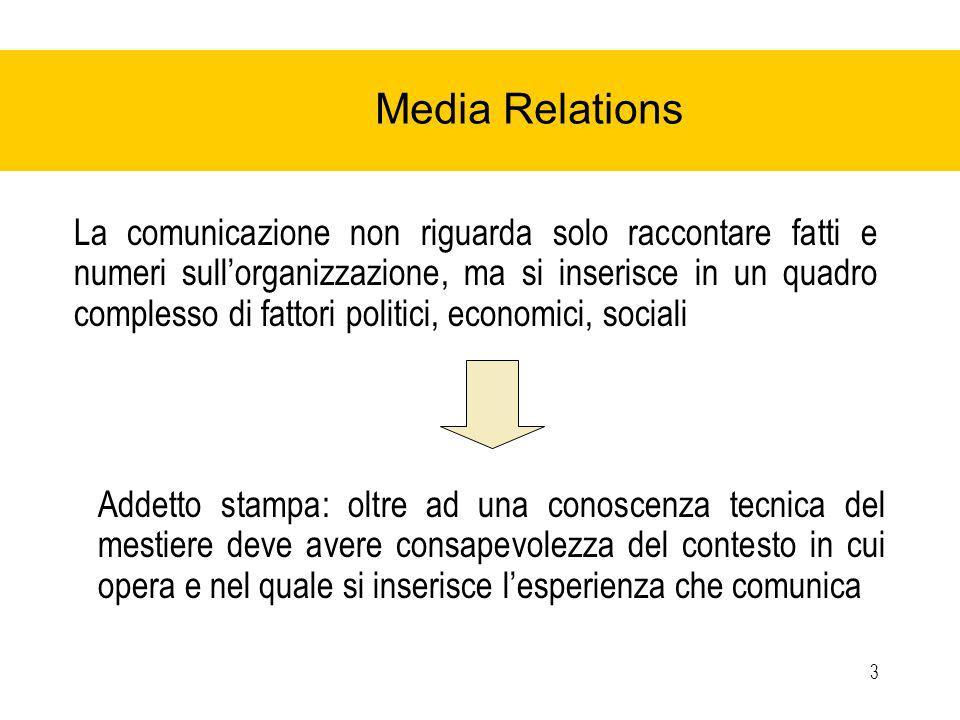 3 Media Relations La comunicazione non riguarda solo raccontare fatti e numeri sullorganizzazione, ma si inserisce in un quadro complesso di fattori politici, economici, sociali Addetto stampa: oltre ad una conoscenza tecnica del mestiere deve avere consapevolezza del contesto in cui opera e nel quale si inserisce lesperienza che comunica