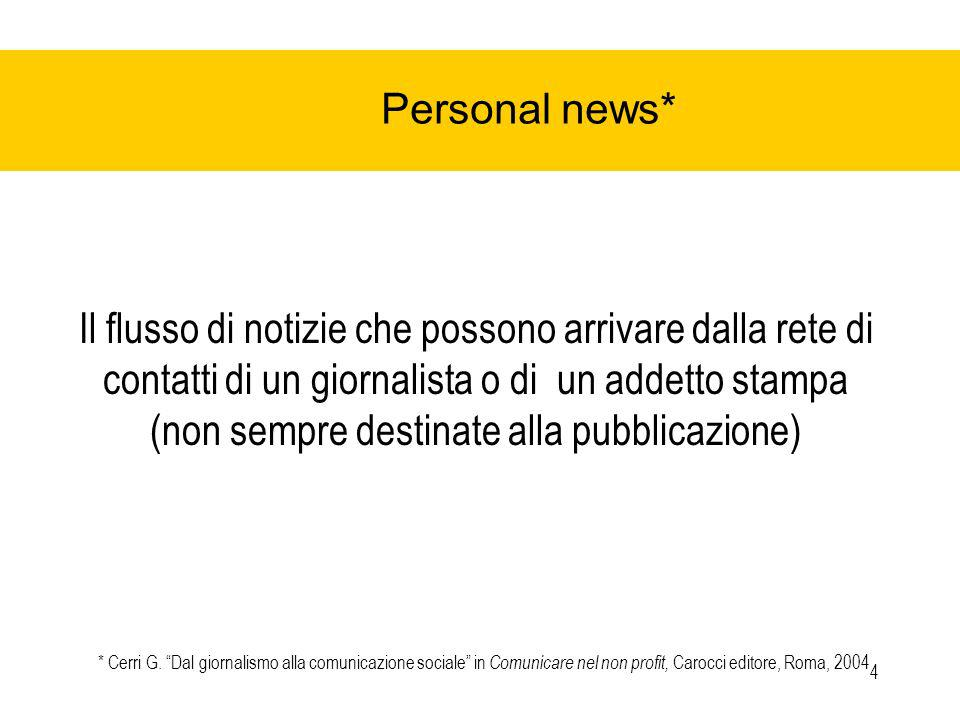 4 Personal news* Il flusso di notizie che possono arrivare dalla rete di contatti di un giornalista o di un addetto stampa (non sempre destinate alla pubblicazione) * Cerri G.
