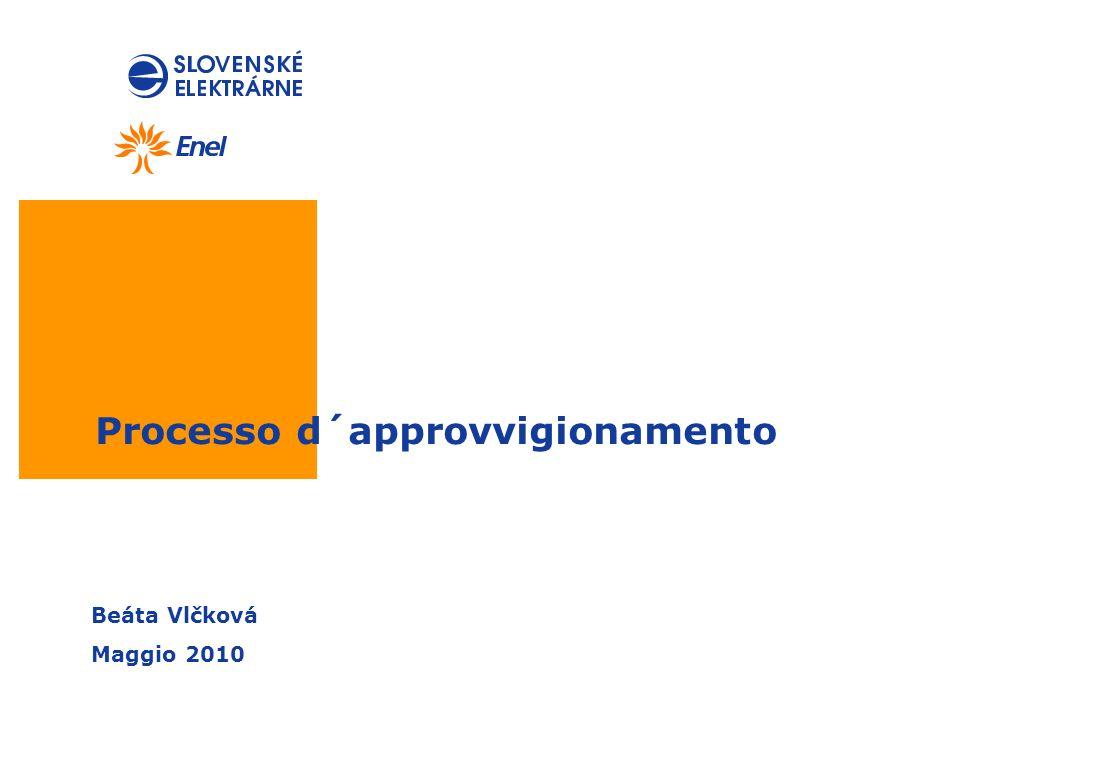 Processo d´approvvigionamento Beáta Vlčková Maggio 2010