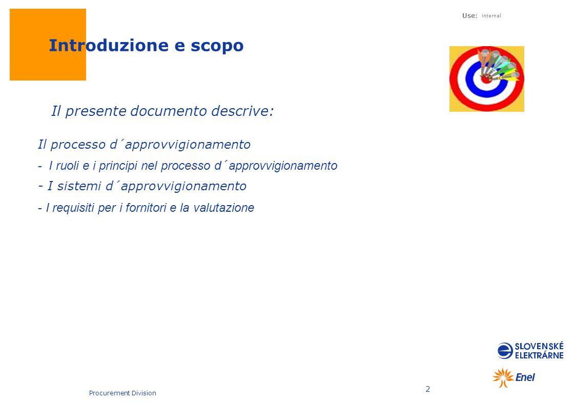 Use: internal Procurement Division 2 Introduzione e scopo Il processo d´approvvigionamento - I ruoli e i principi nel processo d´approvvigionamento -
