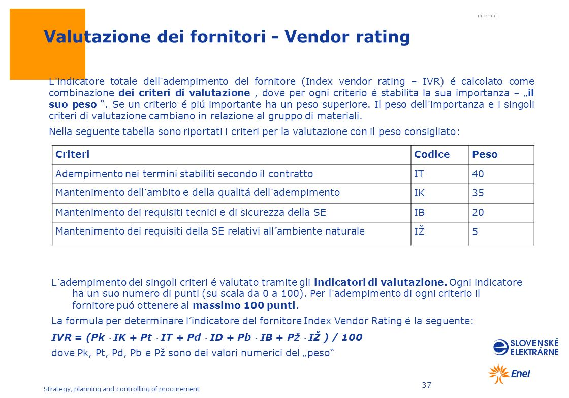internal Strategy, planning and controlling of procurement 37 Valutazione dei fornitori - Vendor rating L´adempimento dei singoli criteri é valutato t