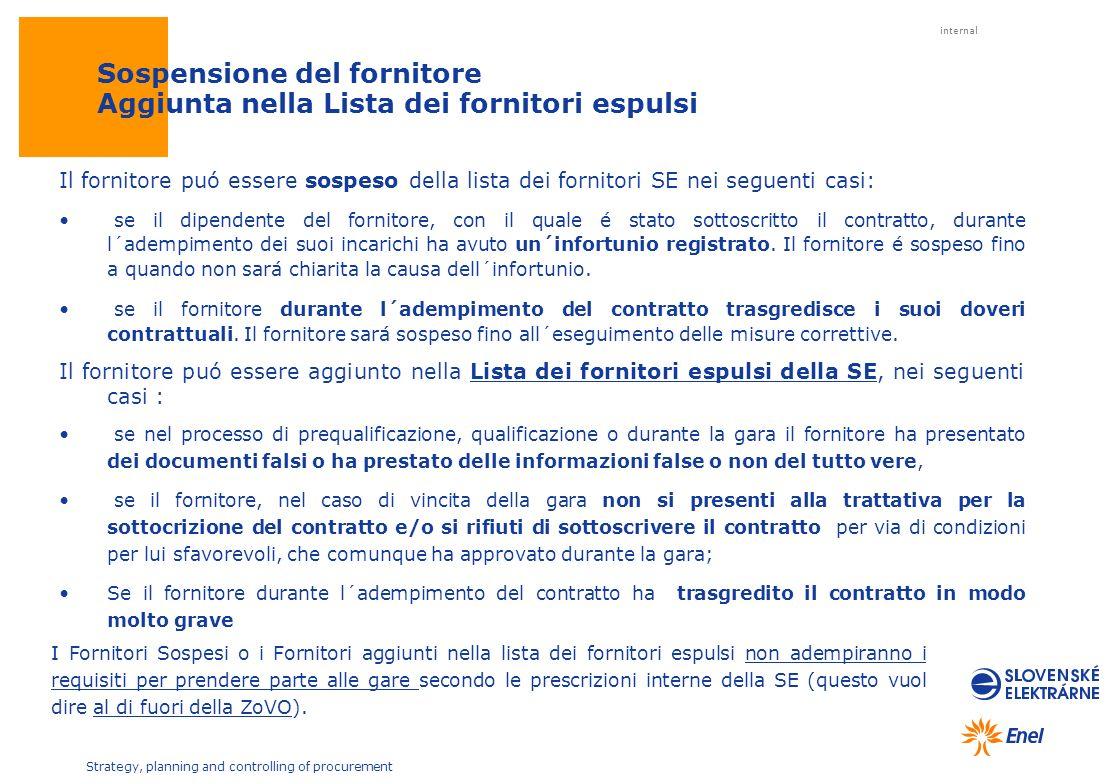 internal Strategy, planning and controlling of procurement Il fornitore puó essere sospeso della lista dei fornitori SE nei seguenti casi: se il dipen