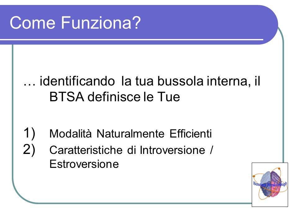 Come Funziona? … identificando la tua bussola interna, il BTSA definisce le Tue 1) Modalità Naturalmente Efficienti 2) Caratteristiche di Introversion