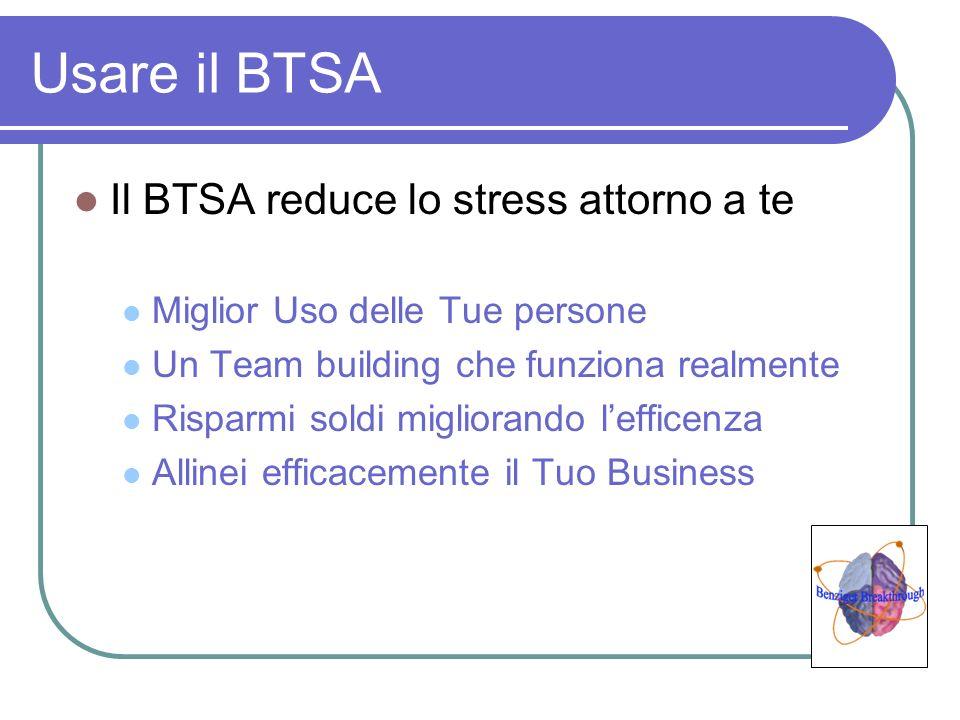 Usare il BTSA Il BTSA reduce lo stress attorno a te Miglior Uso delle Tue persone Un Team building che funziona realmente Risparmi soldi migliorando l