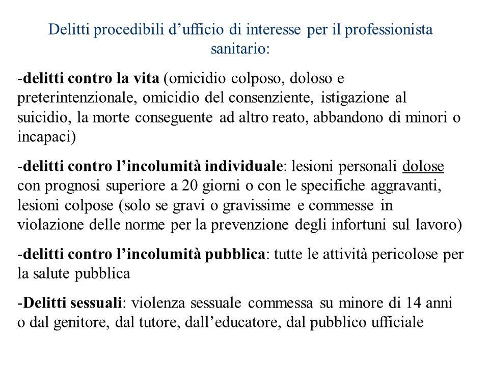 Delitti procedibili dufficio di interesse per il professionista sanitario: -delitti contro la vita (omicidio colposo, doloso e preterintenzionale, omi