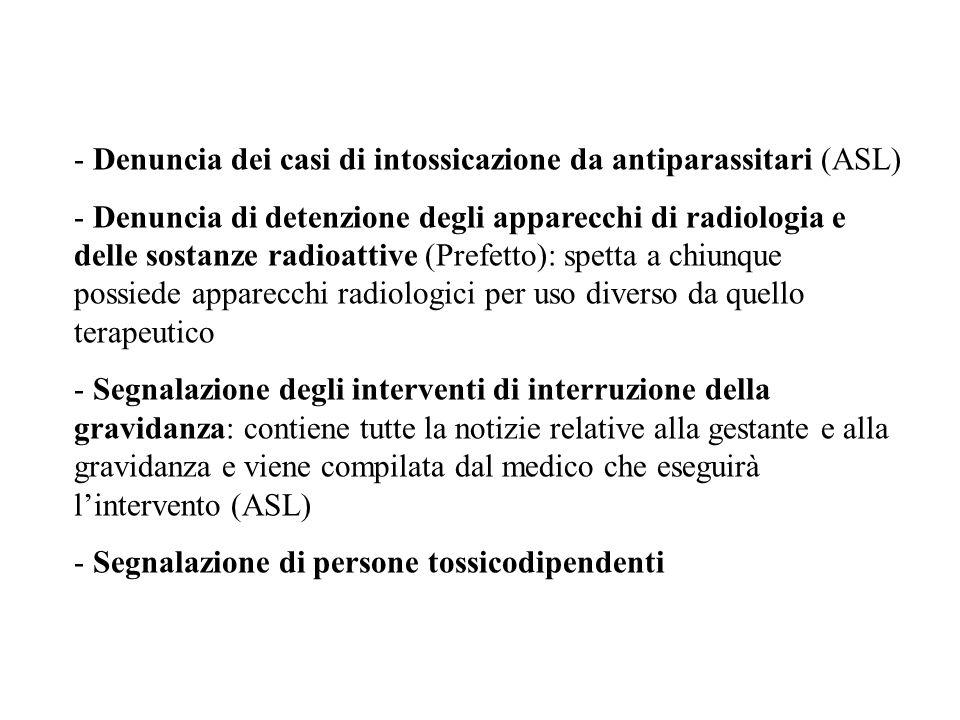 - Denuncia dei casi di intossicazione da antiparassitari (ASL) - Denuncia di detenzione degli apparecchi di radiologia e delle sostanze radioattive (P