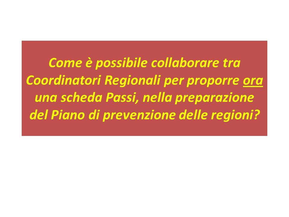 Come è possibile collaborare tra Coordinatori Regionali per proporre ora una scheda Passi, nella preparazione del Piano di prevenzione delle regioni?
