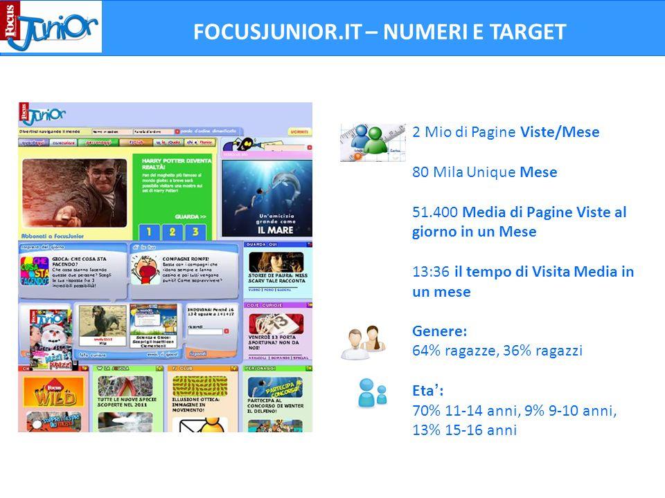 2 Mio di Pagine Viste/Mese 80 Mila Unique Mese 51.400 Media di Pagine Viste al giorno in un Mese 13:36 il tempo di Visita Media in un mese FOCUSJUNIOR