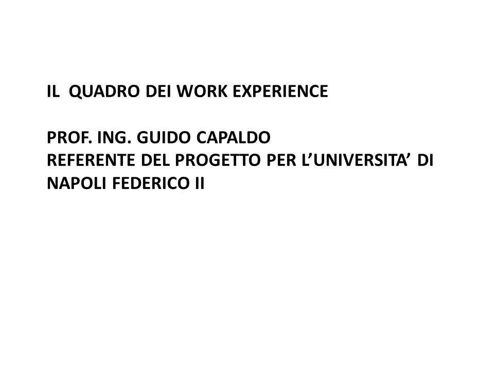 IL QUADRO DEI WORK EXPERIENCE PROF. ING. GUIDO CAPALDO REFERENTE DEL PROGETTO PER LUNIVERSITA DI NAPOLI FEDERICO II