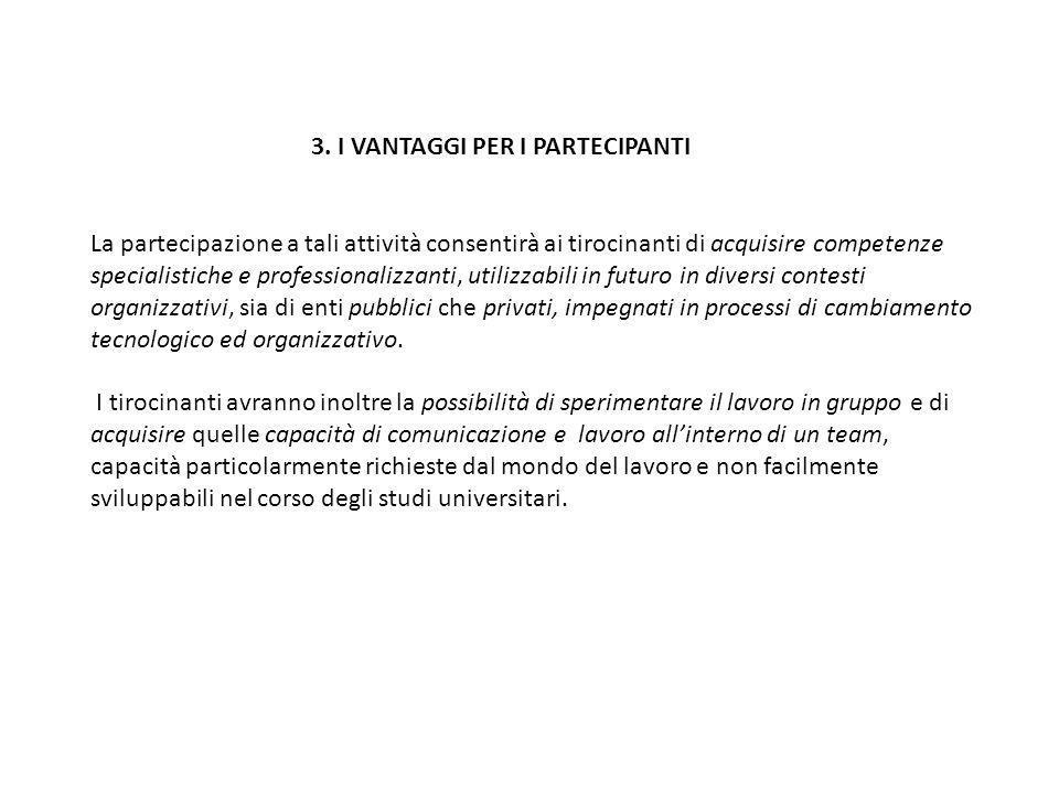 3. I VANTAGGI PER I PARTECIPANTI La partecipazione a tali attività consentirà ai tirocinanti di acquisire competenze specialistiche e professionalizza