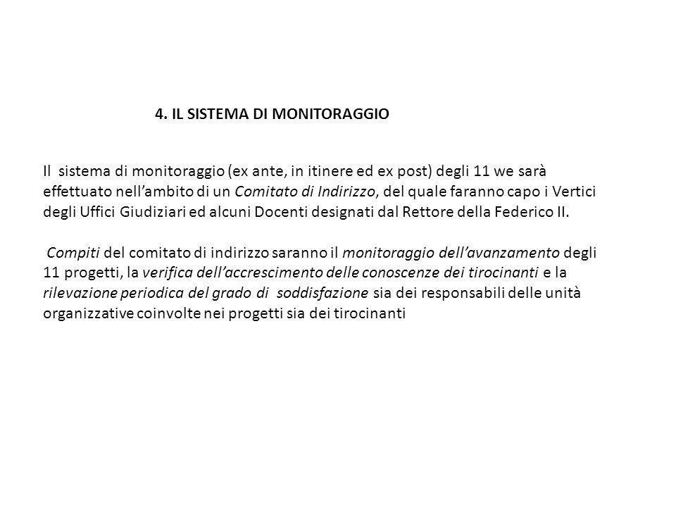 4. IL SISTEMA DI MONITORAGGIO Il sistema di monitoraggio (ex ante, in itinere ed ex post) degli 11 we sarà effettuato nellambito di un Comitato di Ind