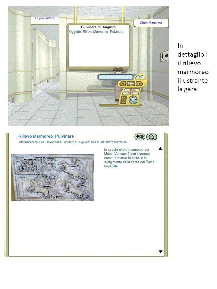 In dettaglio l il rilievo marmoreo illustrante la gara