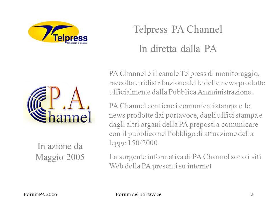 ForumPA 2006Forum dei portavoce2 PA Channel è il canale Telpress di monitoraggio, raccolta e ridistribuzione delle delle news prodotte ufficialmente dalla Pubblica Amministrazione.