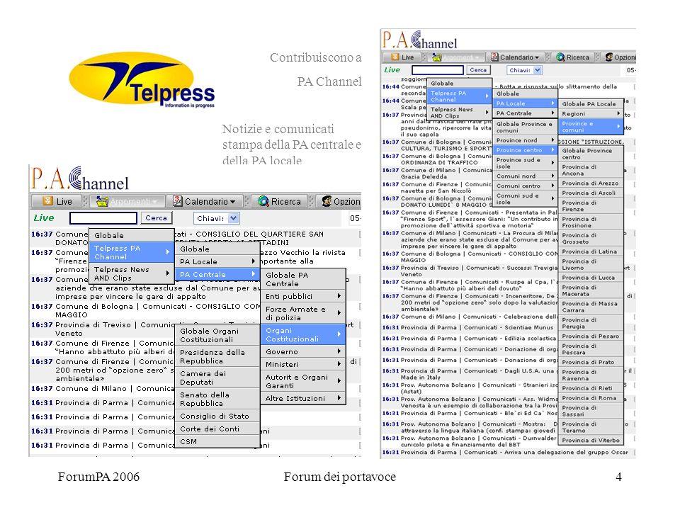 ForumPA 2006Forum dei portavoce4 Contribuiscono a PA Channel Notizie e comunicati stampa della PA centrale e della PA locale