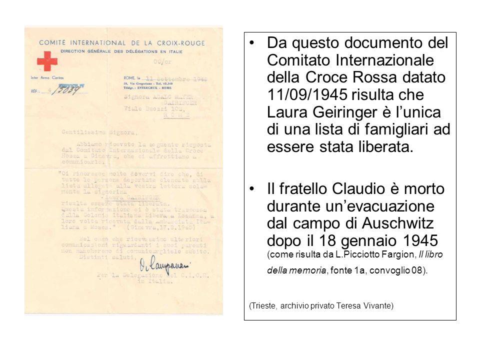 Da questo documento del Comitato Internazionale della Croce Rossa datato 11/09/1945 risulta che Laura Geiringer è lunica di una lista di famigliari ad