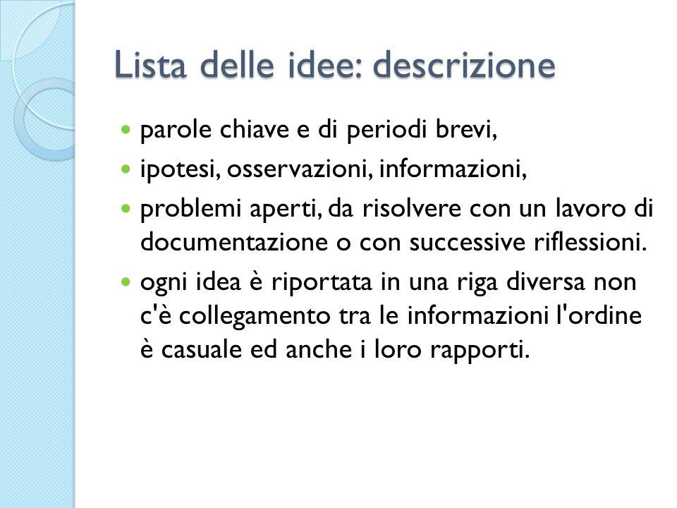 Lista delle idee: descrizione parole chiave e di periodi brevi, ipotesi, osservazioni, informazioni, problemi aperti, da risolvere con un lavoro di do