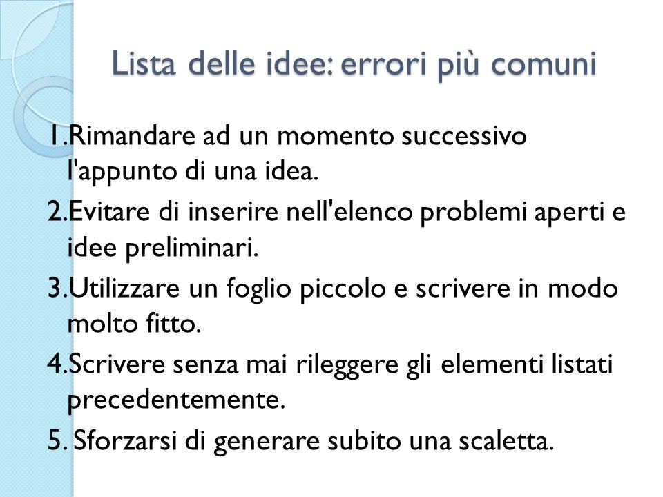 Lista delle idee: errori più comuni 1.Rimandare ad un momento successivo l'appunto di una idea. 2.Evitare di inserire nell'elenco problemi aperti e id