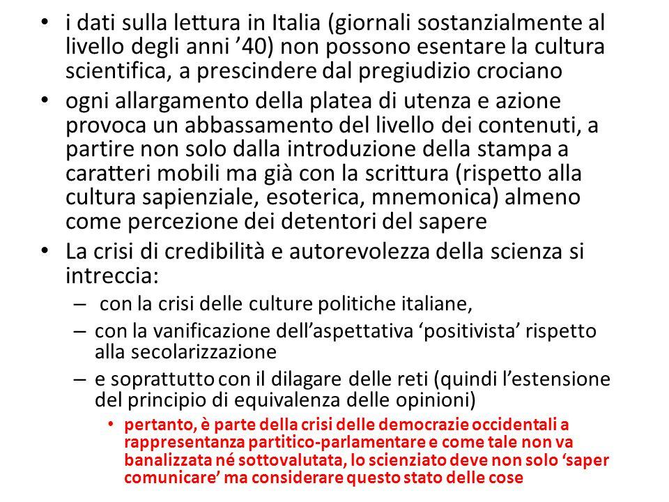 i dati sulla lettura in Italia (giornali sostanzialmente al livello degli anni 40) non possono esentare la cultura scientifica, a prescindere dal preg