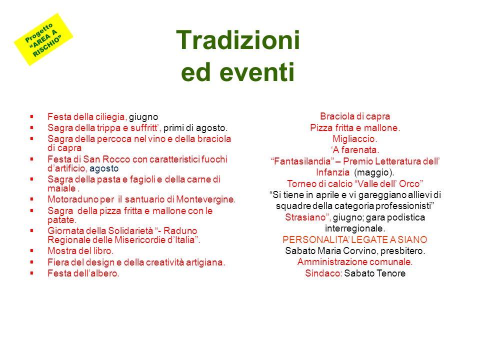 Tradizioni ed eventi Festa della ciliegia, giugno Sagra della trippa e suffritt, primi di agosto.