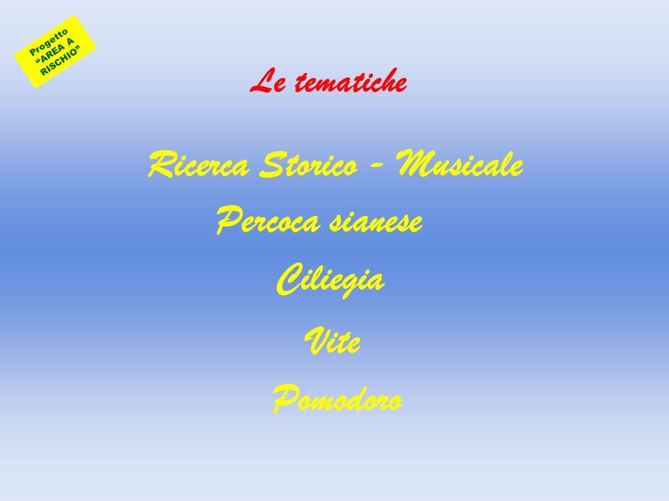Le tematiche Ricerca Storico - Musicale Percoca sianese Ciliegia Vite Pomodoro Progetto AREA A RISCHIO