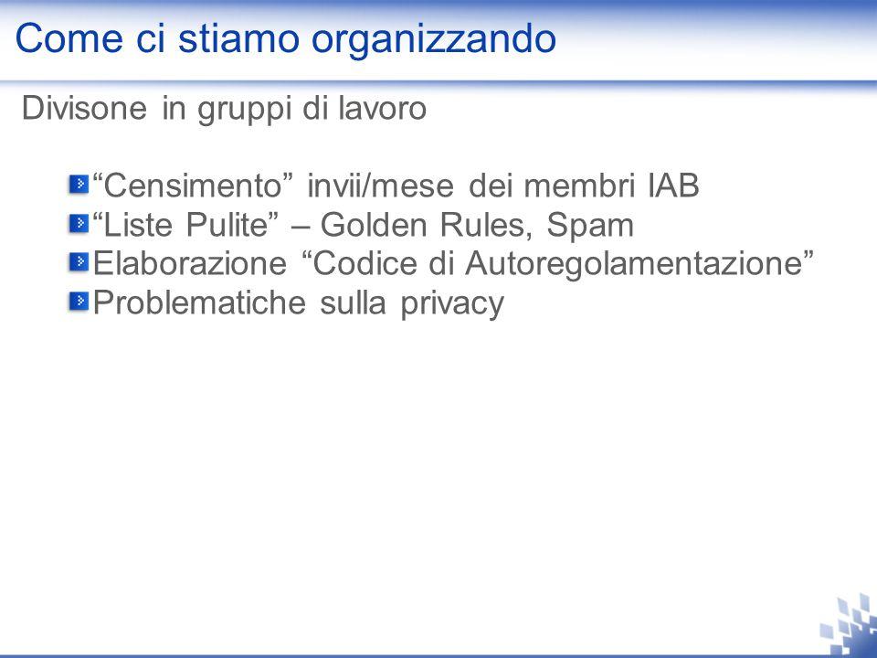 Come ci stiamo organizzando Divisone in gruppi di lavoro Censimento invii/mese dei membri IAB Liste Pulite – Golden Rules, Spam Elaborazione Codice di Autoregolamentazione Problematiche sulla privacy