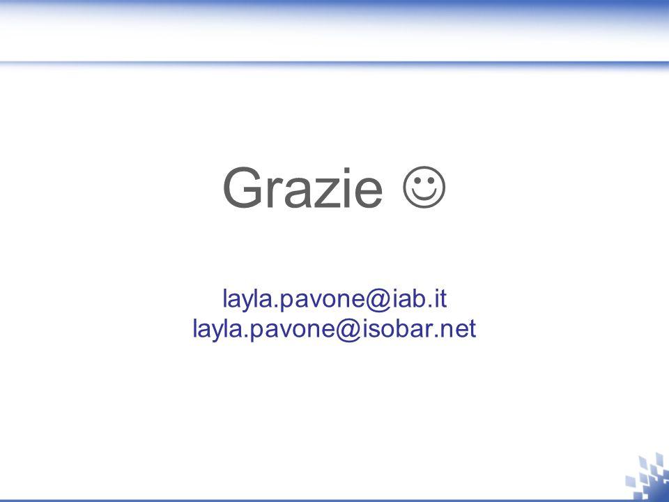 Grazie layla.pavone@iab.it layla.pavone@isobar.net