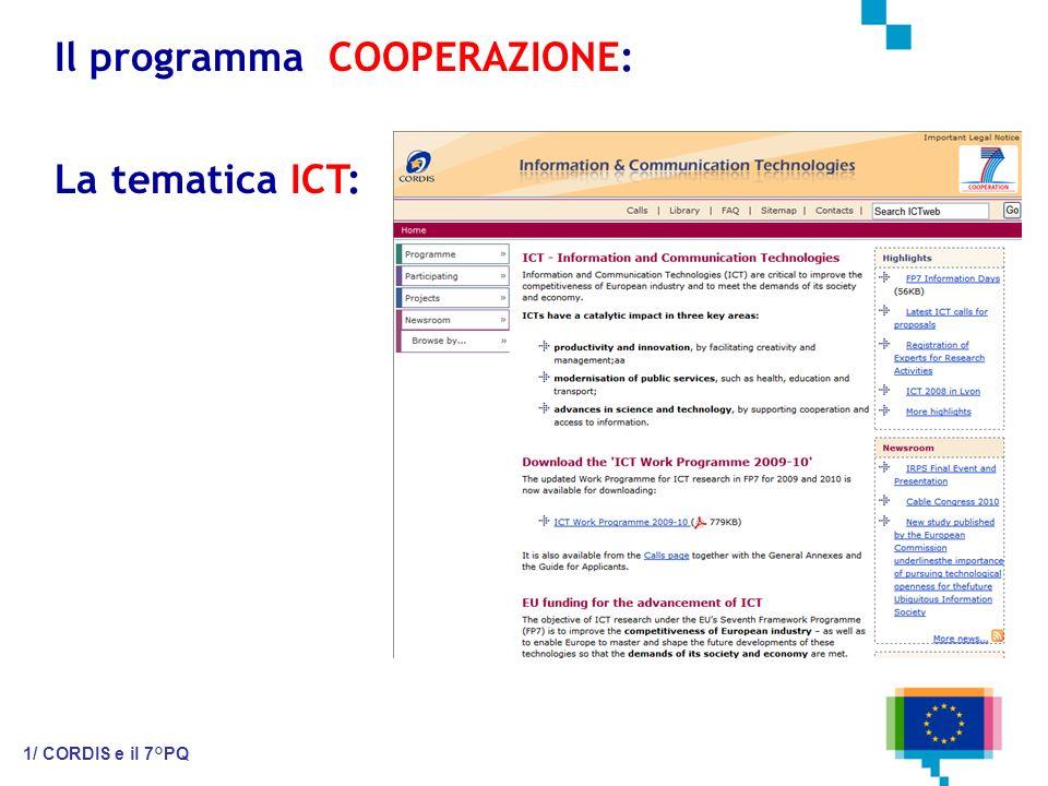 Il programma COOPERAZIONE: 1/ CORDIS e il 7°PQ La tematica ICT: